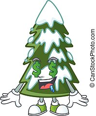 Christmas tree snow with Money eye cartoon character design