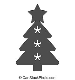 Christmas tree solid icon. Fir-tree vector illustration isolated on white. Holidays glyph style design, designed for web and app. Eps 10.