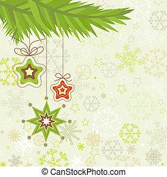 Christmas tree, star ornaments vector illustration