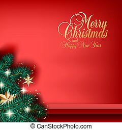 Christmas tree, stars and lights vector square banner or social media post template with red shelf for goods on the wall. Golden Merry Christmas and Happy New Year calligraphic lettering on red background.