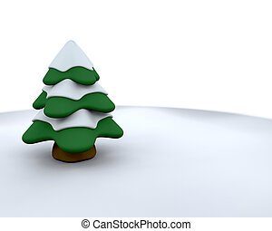 Christmas tree - 3D render of a Christmas tree