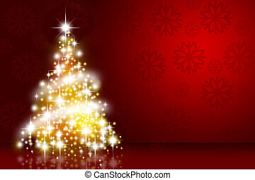 Christmas tree over deep red background with snowflakes