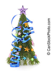 christmas tree with stars and balls on white background