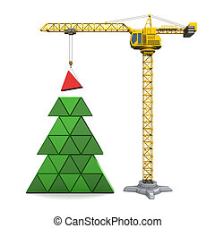 Christmas tree - abstract 3d illustration of crane building...