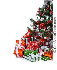 Christmas tree - Christmas tree with heap of festive gift...