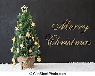 Christmas Tree, Text Merry Christmas, Black Concrete