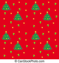 Christmas Tree Texture - Seamless pattern with tree and gift...