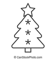Christmas tree thin line icon. Fir-tree vector illustration isolated on white. Holidays outline style design, designed for web and app. Eps 10.