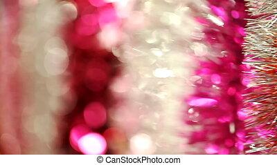 Christmas tree tinsel , Christmas decorations, blurred...