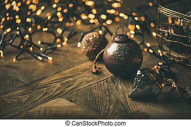 Christmas tree toy decoration balls and light garland, copy space