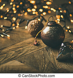 Christmas tree toy decoration balls and light garland. Holiday background