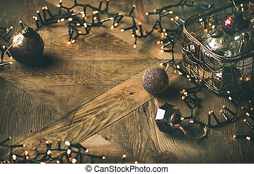 Christmas tree toy decoration balls and light garland, horizontal composition