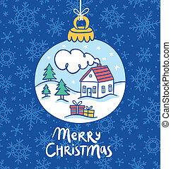 Christmas tree toy greeting card vector illustration