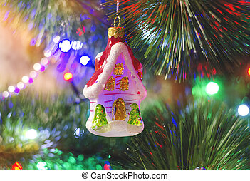 christmas tree toy in the form of a house