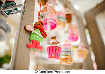 Christmas tree toy in the form of cute alive cookie