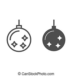 Christmas tree toy line and glyph icon. Christmas tree ball vector illustration isolated on white. Xmas decoration outline style design, designed for web and app. Eps 10.