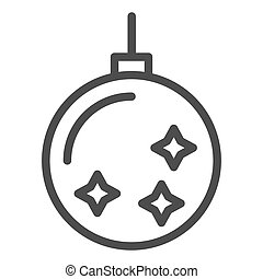 Christmas tree toy line icon. Christmas tree ball vector illustration isolated on white. Xmas decoration outline style design, designed for web and app. Eps 10.