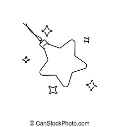 Christmas tree toy star line thin icon on white background. Vector illustration Black outline isolated on white background. Christmas and New Year design element. Winter symbol. Christmas firs decor line icon.