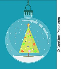 Christmas tree toy. Stock flat vector illustration.