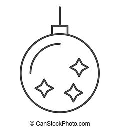 Christmas tree toy thin line icon. Christmas tree ball vector illustration isolated on white. Xmas decoration outline style design, designed for web and app. Eps 10.