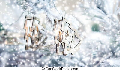 Christmas tree toys decorations and snow-covered Christmas tree branches