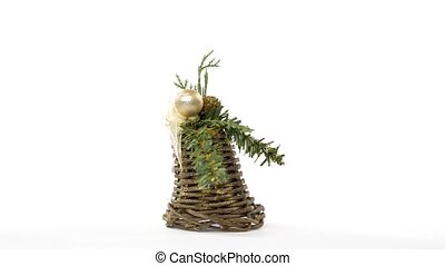 Christmas tree toys rotating in a seamless loop on white background