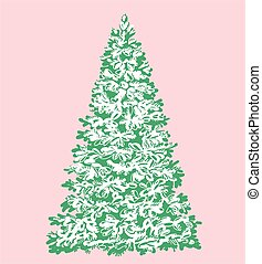 Christmas tree under the snow on a pink background. Vector.