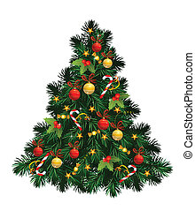Christmas tree with balls, stars, candies