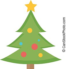 Christmas tree vector icon. Isolated on white background.