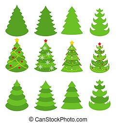 Christmas tree vector icons set. Flat cartoon illustration