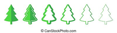 Christmas tree vector icons. Vector illustration.
