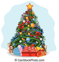 christmas tree - Vector illustration of a decorated...
