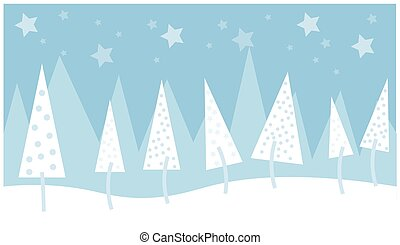 Christmas tree vector illustration on a blue background with stars