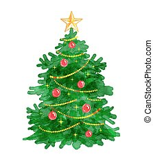 Christmas tree. - Vector watercolor illustration of...
