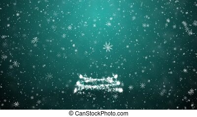Christmas tree with falling snowflakes and stars
