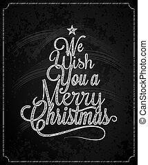 Christmas Tree Vintage Lettering Chalk Background