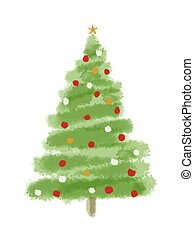 christmas tree - watercolor Christmas tree isolated on a ...