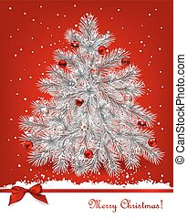 Christmas tree. White fir tree decorated with red baubles on...