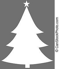 Christmas Tree White Flat Icon On Grey Background