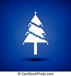 Christmas tree white on blue