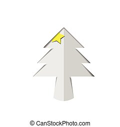 Christmas tree white paper cutout with star