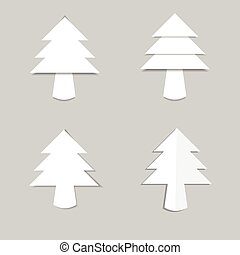 Christmas tree white paper with shadow