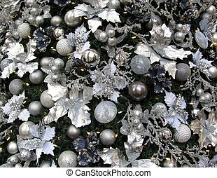 Christmas tree white, silver and blue decorations background