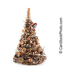 Christmas tree wicker from a vine isolated on white