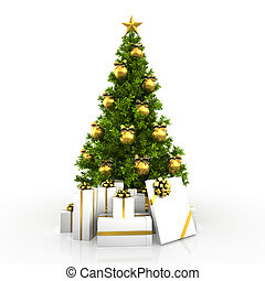 Christmas tree winh gold decor isolated on white background