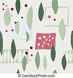 Christmas tree winter season collage pattern