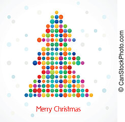 Christmas tree with abstract colorful doted pattern