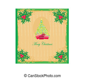 christmas tree with abstract holly berry decoration