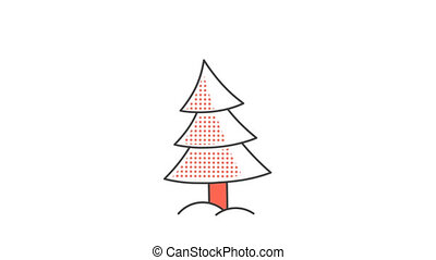 Christmas tree with balls and a star on top. Animated looped...