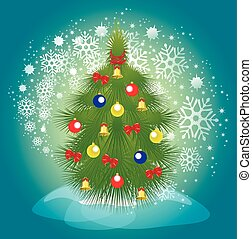Christmas tree with balls, bells and ribbons on a background of a blizzard. EPS10 vector illustration